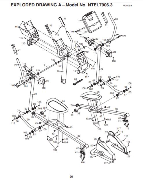 Nordictrack 990 user manual exploded diagram A
