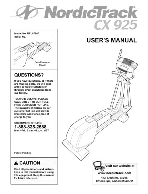 Nordictrack cx 925 user manual cover