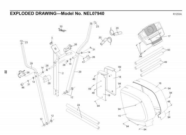 Nordictrack cx 925 user manual exploded diagram A