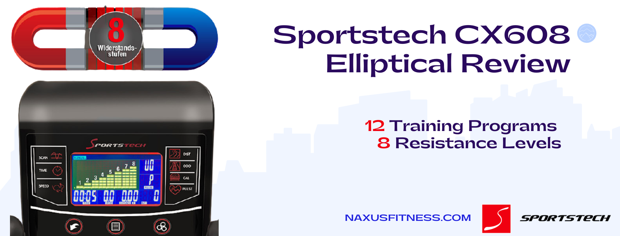 Sportstech CX608 - 12 training programs and 8 resistance levels