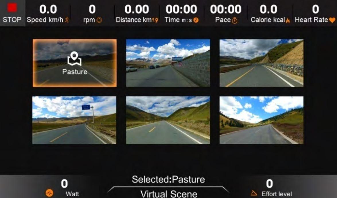 Sportstech LCX800 Virtual Scene mode